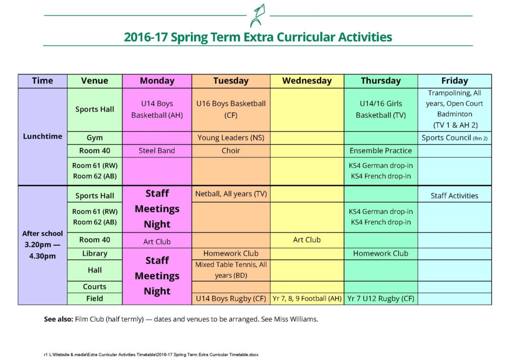 Spring Term Extra Curricular Activities
