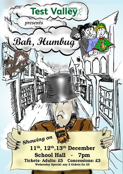 Test Valley School presents 'Bah Humbug', showing on 11th, 12th, 13th December at the School Hall at 7pm. Tickets: Adults £5, Concessions £3.