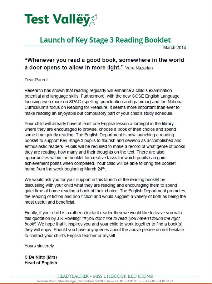 Launch of Key Stage 3 Reading Booklet