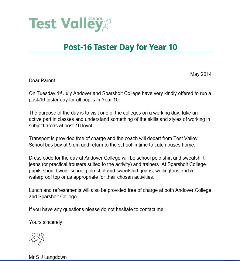 Post-16 Taster Day for Year 10