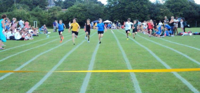 The sprints were very popular with pupils really trying to do their best and reach the yellow line first.