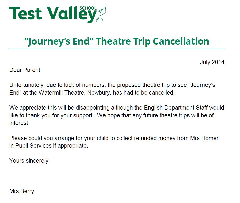 Test Valley School Journeys End Theatre Trip Cancellation