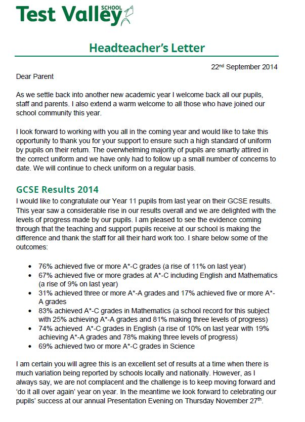 Test valley school letters home dear parent as we settle back into another new academic year i welcome back all our pupils staff and parents i also extend a warm welcome to all those who expocarfo Image collections