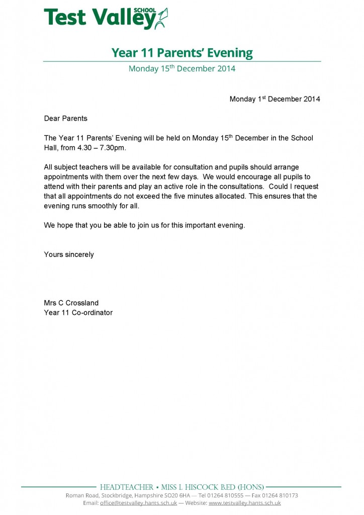 Year 11 Parents Evening letter Dec 2014