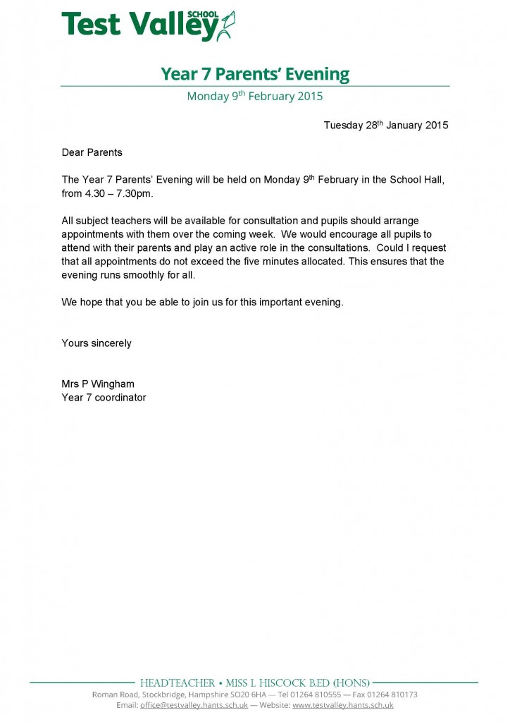 Year 7 Parents Evening letter - Jan 2015