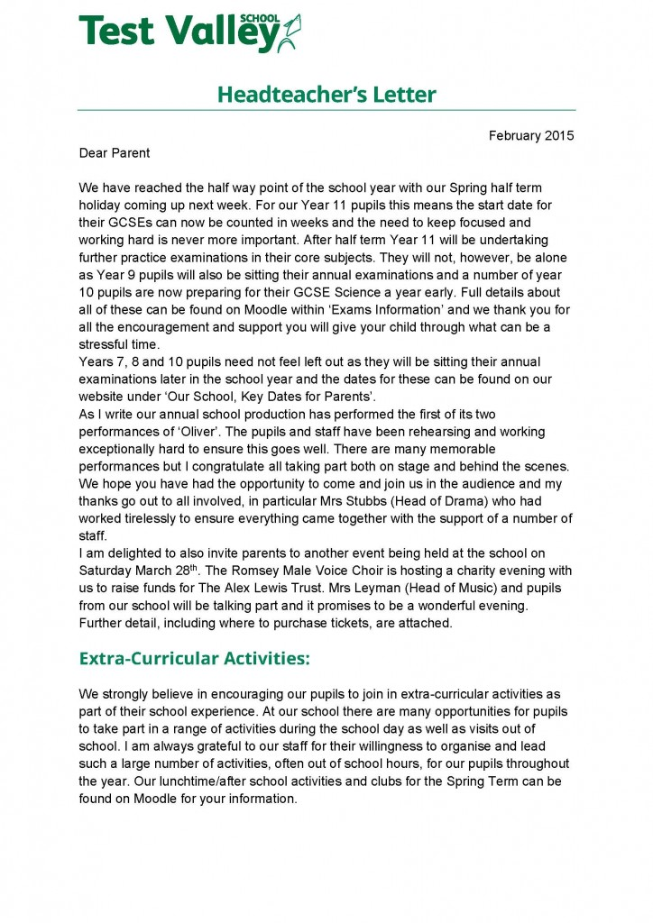 letter to headteacher Many parents choose to send thank you letters to head teachers at the end of their children's time at a school these notes should address why the school was so.