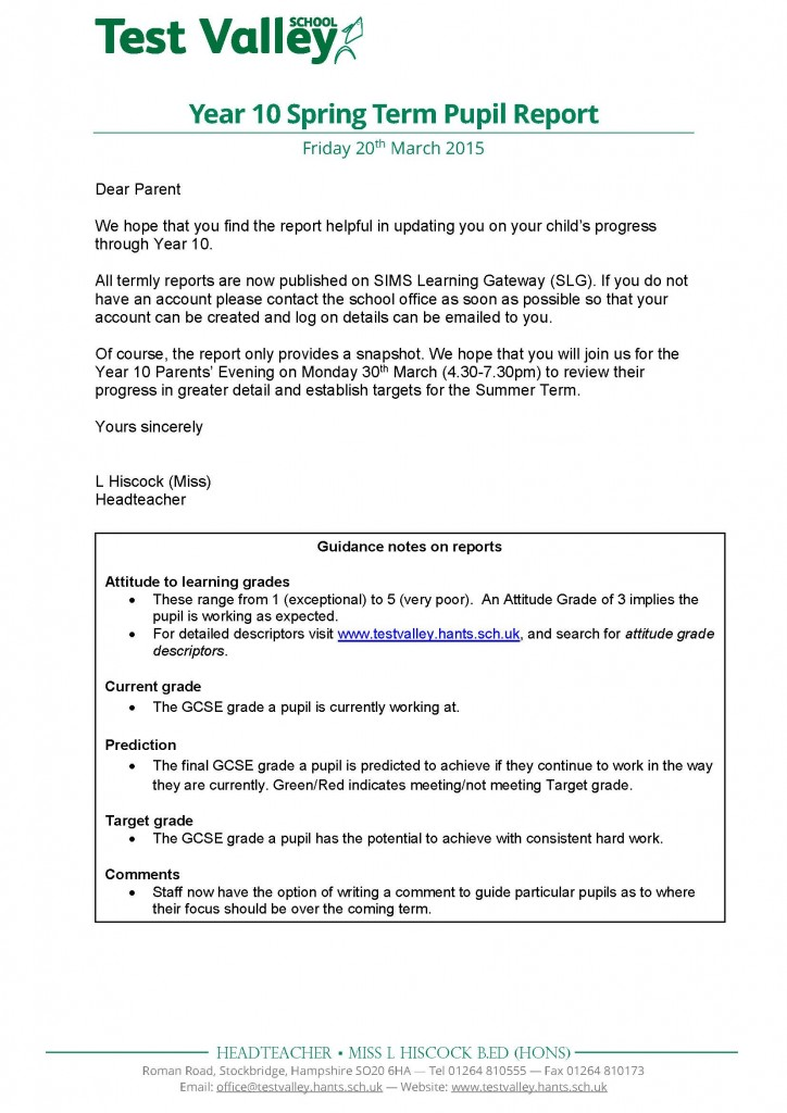 Year 10 Spring Term Pupil Report Letter - March 2015