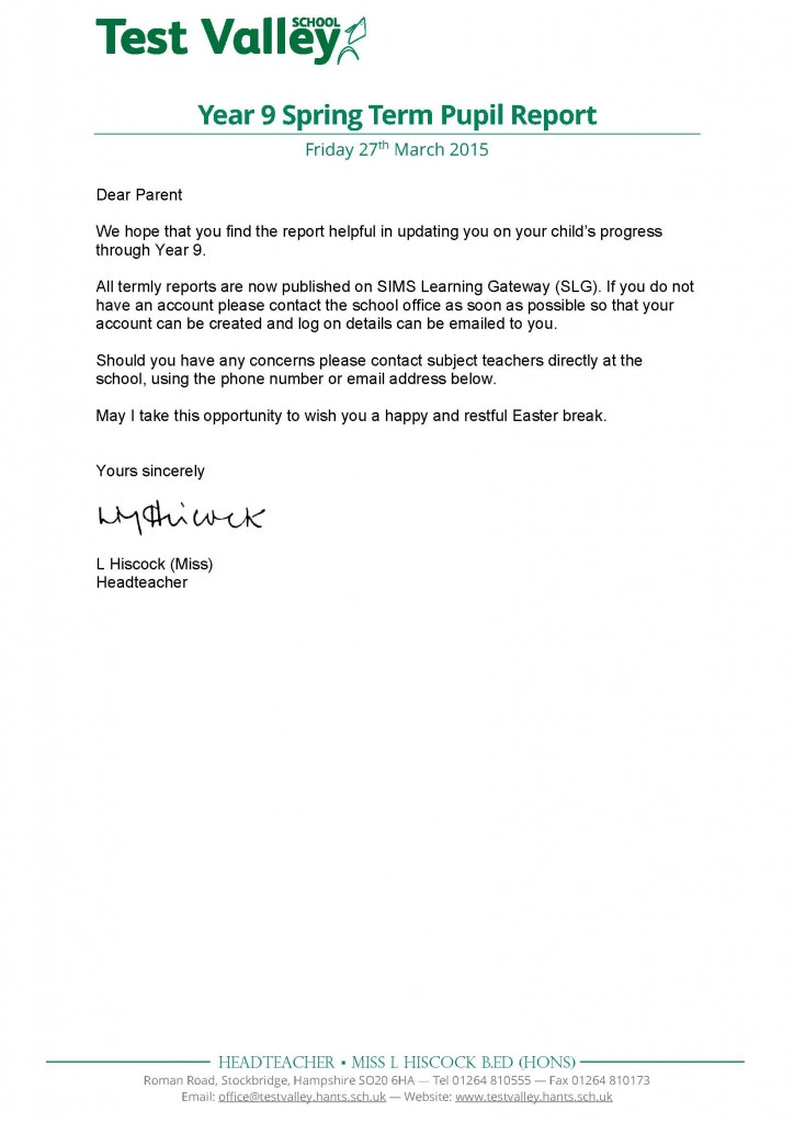 Year 9 Spring Term Pupil Report Letter - Mar 2015