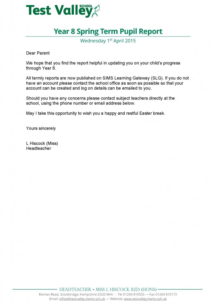 Year 8 Spring Term Pupil Report Letter - Apr 2015