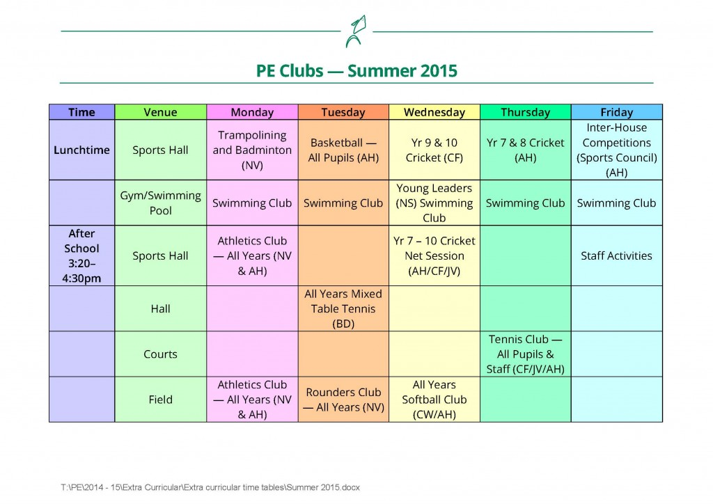 Summer Term PE Clubs