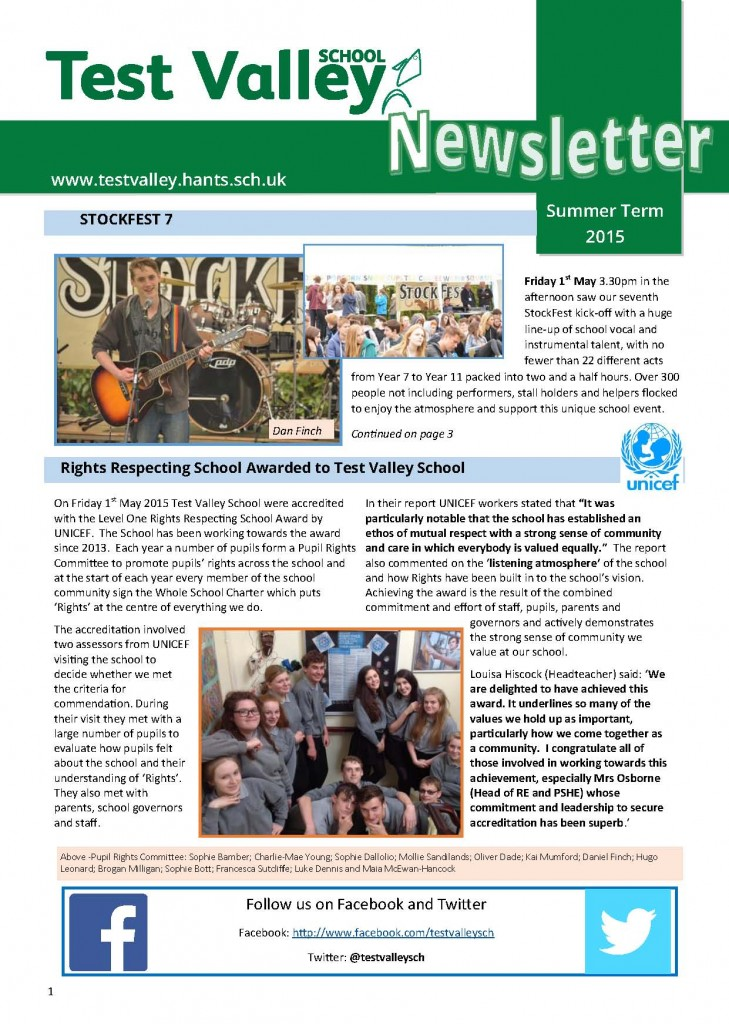 Test Valley School  Summer Term  Newsletter