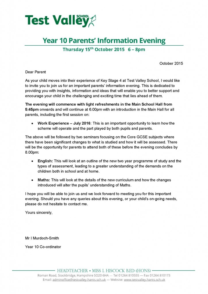 Test valley school letters home dear parent as your child moves into their experience of key stage 4 at test valley school i would like to invite you to join us for an important parents stopboris Choice Image