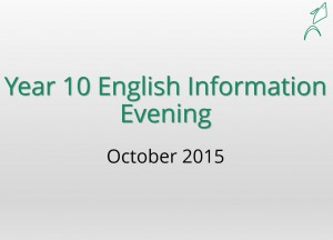 Year 10 English Information Evening