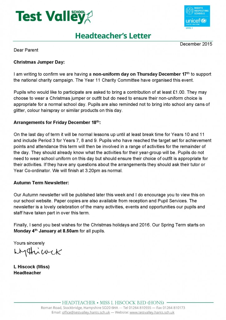 Holiday Request Letter To Headteacher