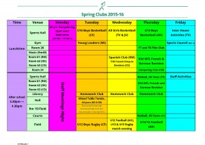 Spring 2016 Extra Curricular Timetable