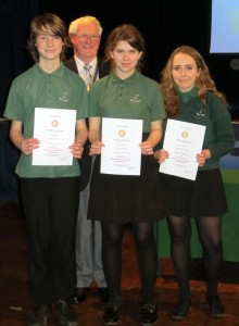 Wilfred Breach, Annabel Anderson and Tizzy Stiles-Palmer -- Rotary Youth Speaks Competition