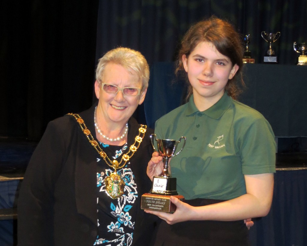 Annabel Anderson, who was awarded a trophy for the best chairperson in the competition