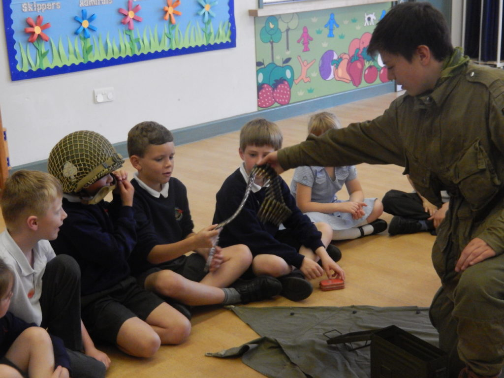 Rory Palmer as American Soldier with pupils from Lockerley