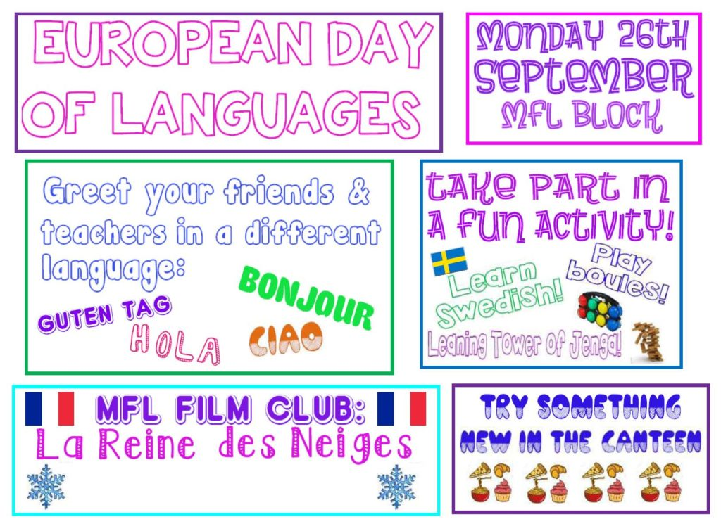 European Day of Languages - Monday 26th September