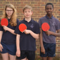 Annabel Anderson, Oliver Middleton and Alex Dennis — table tennis champions