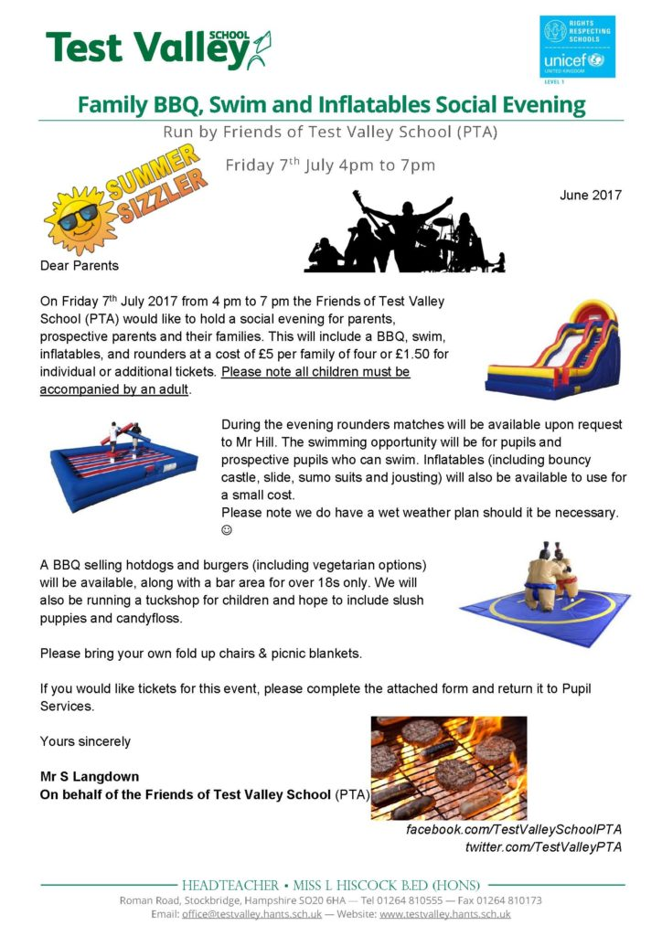 Family BBQ Swim And Inflatables Social Evening July 2017