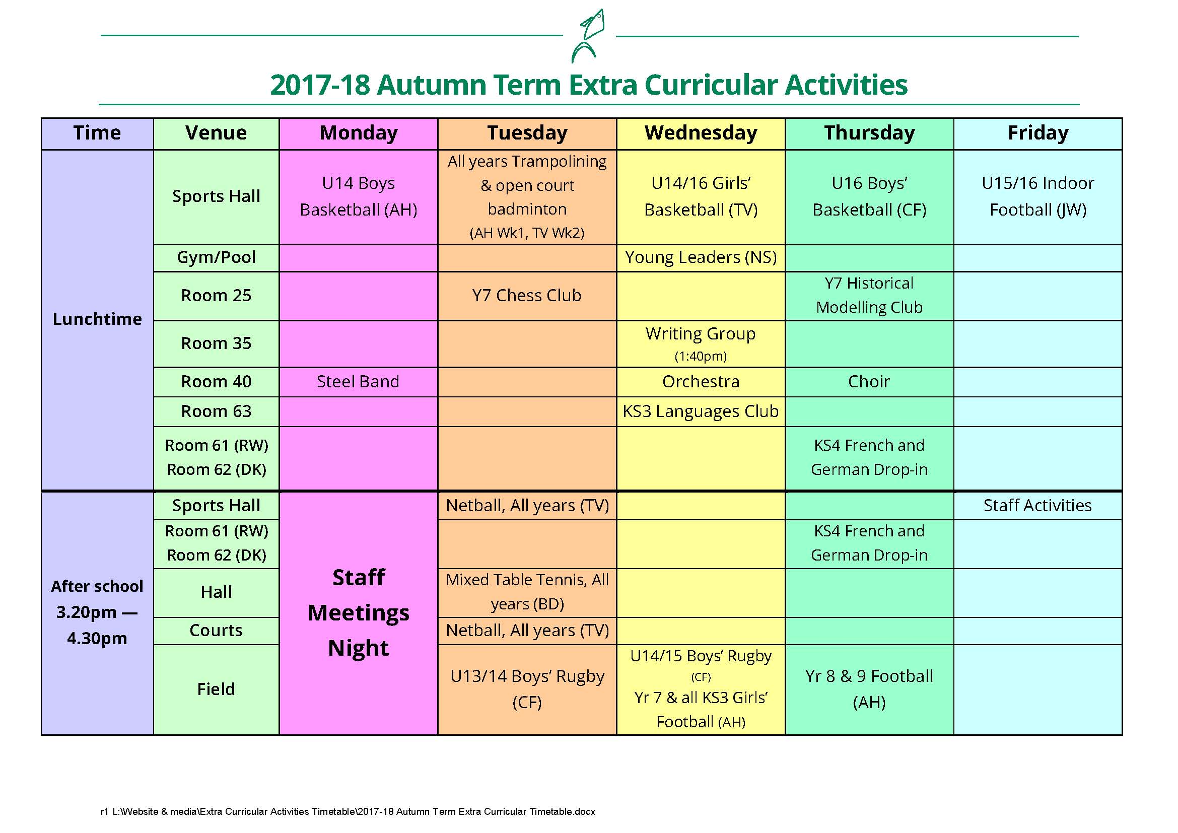 Extra Curricular Activites Timetable