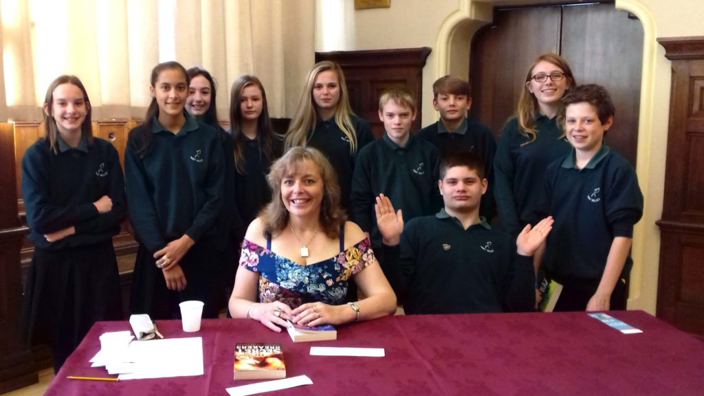 Helen Dennis with Test Valley School pupils