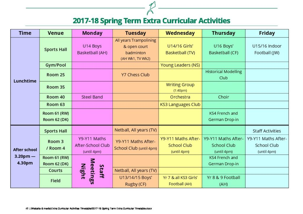 2017-18 Spring Term Extra Curricular Activities Timetable