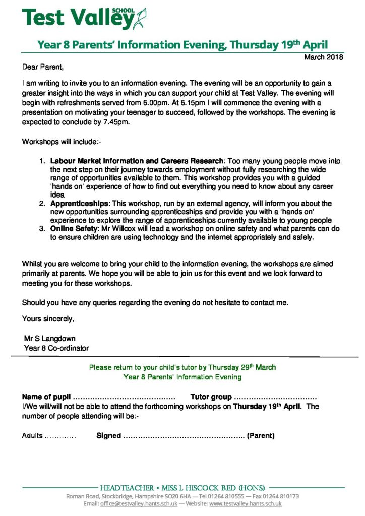 Test valley school letters home year 8 parents information evening thursday 19th april stopboris Gallery