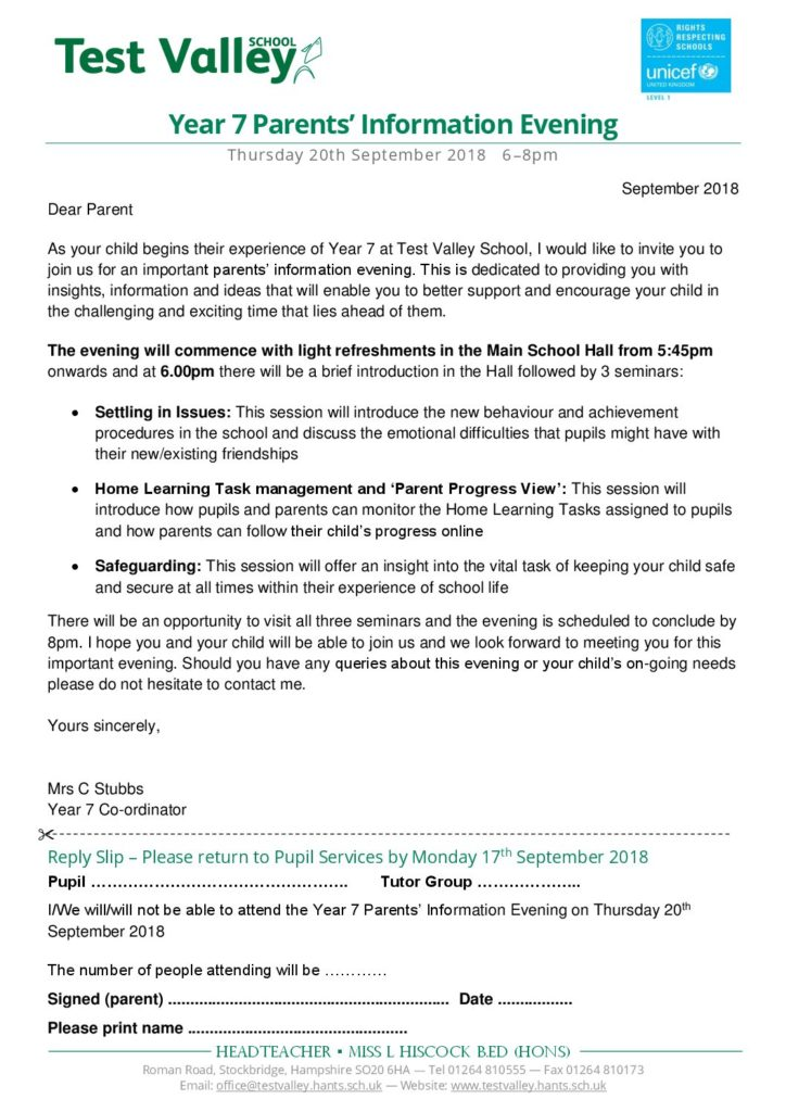 Test valley school letters home dear parent as your child begins their experience of year 7 at test valley school i would like to invite you to join us for an important parents stopboris Choice Image